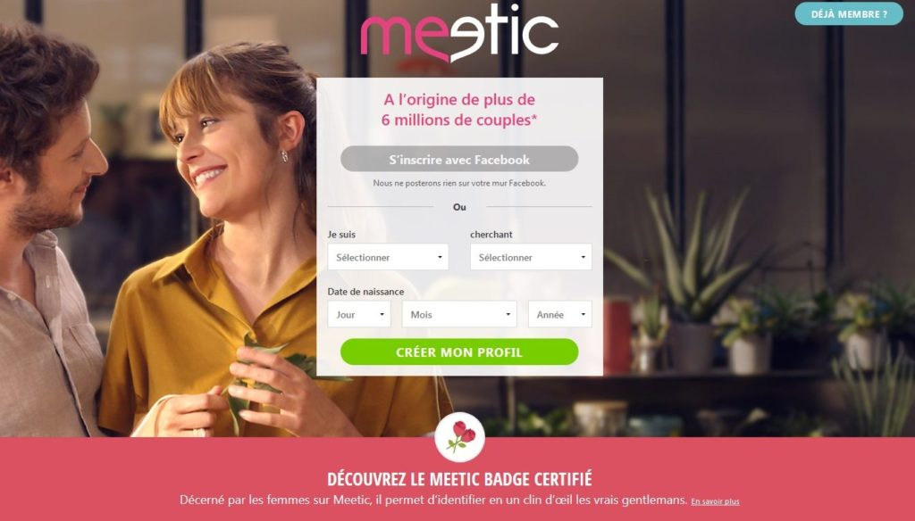 Meetic avis : accueil inscription